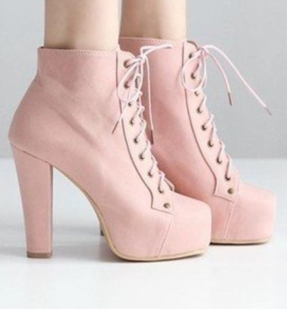Shorts: pink, shoes, heels, boots, pastel pink, platform shoes ...