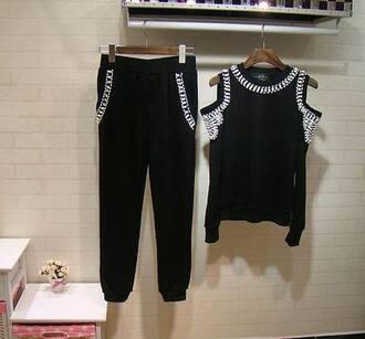 pants bead suit strapless suit black tracksuit