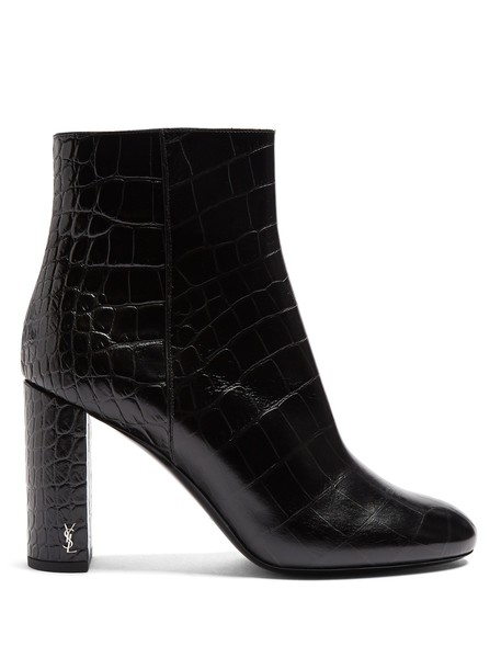 Saint Laurent leather ankle boots ankle boots leather crocodile black shoes