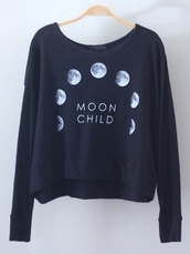 sweater,clothes,shirt,moon,sweatshirt,whiteb,moon phases,black,phases of the moon,long sleeves,moon shirt,child,black shirt,pullover,black and white,white shirt,quote on it,black text,phases,space,planets,galaxy print,grunge,soft grunge,crewneck,black pullover,white pullover,moonchild,coat,swagy,grunge sweater,grungy,cool,white sweater,printed sweater,navy,black sweater