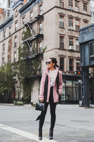 wendy's lookbook blogger bag shoes sunglasses scarf fall outfits black pants pink jacket ankle boots