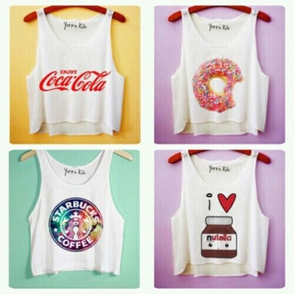 top tank top coca cola starbucks coffee nutella donut