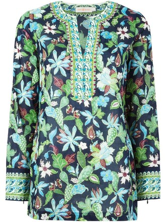 blouse floral print blue top