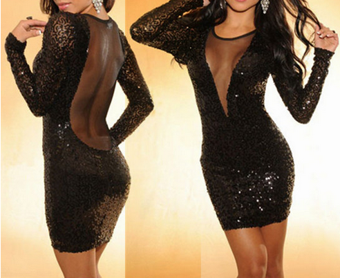 Neck sequins and mesh bodycon dress