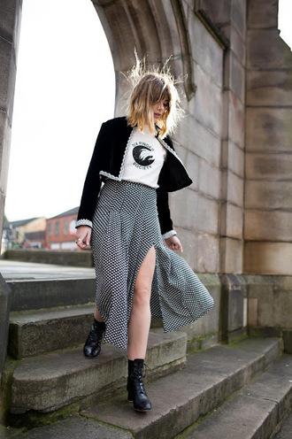 skirt cropped jacket tumblr maxi skirt slit skirt jacket boots black boots