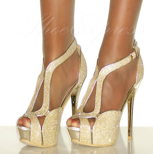 WOMENS/gold shimmer/HIGH HEELS CUT OUT PLATFORM SILVER HIGH PARTY SHOES 2-7 | Amazing Shoes UK