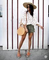 top,green shorts,hat,tumblr,white top,shorts,bag,round bag,sandals,wedges,wedge sandals,sun hat,shoes,vacation outfits