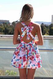 dress,floral,bow,open back,summer,floral dress,backless dress,summer dress,short dress,summer outfits,multicolor dress floral with bow,summer tumblr,bow dress,blue,pink,dress short cute summer