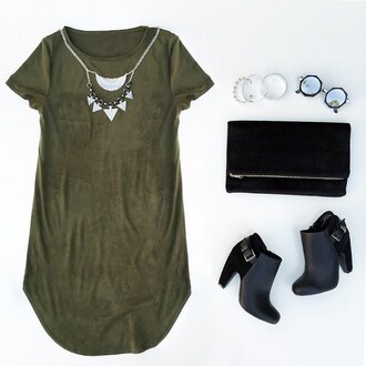 dress olive green shirt dress shift dress suede dress suede green booties fall outfits california fall dress necklace back to school clutch sunglasses