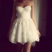 dress,lace,bandeau,white dress,short,cute,white,pretty,corset top,perfect,skirt,top,high dress,lace dress,white lace dress,mini dress,prom dress,high heels,jeans,shirt,bandeau white short lace,crop top bralette skater skirt,sleeveless dress,sweetheart,sleeveless,lace skirt,spitze,strapless dress,cute dress,summer dress,summer outfits,poofy,bridesmaid,vintage,strapless,corset dress,indie,White strapless dress,fashion,style,prom,jewels,bustier,girl,party,garden,girly,white lace,flowers,summer
