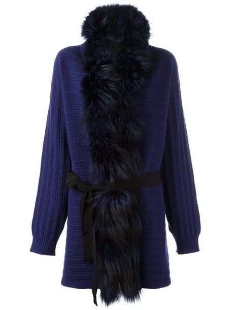 Blumarine cardigan cardigan fur fox women cotton blue wool sweater