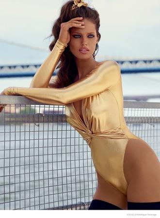 swimwear metallic swimsuit metallic one-piece one piece swimsuit metallic gold v neck plunge v neck
