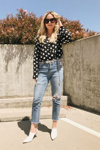 shoes mules white mules jeans denim polka dots top sunglasses