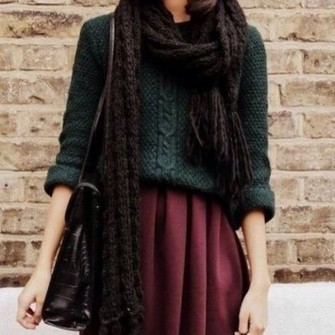 sweater scarf fall outfits burgundy forest green skirt skater skirt burgundy skirt red nice lovly scarf red