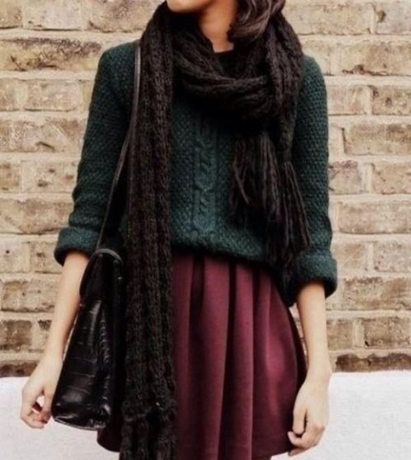 sweater scarf forest green burgundy fall outfits skirt burgundy skirt skater skirt red pretty nice lovly
