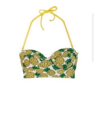 swimwear midkini bikini yellow green pineapple fruits pattern beach