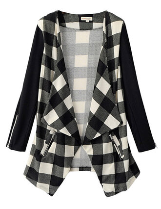 jacket zip open front brenda-shop 36683 outwear outerwear plaid checkered high low trendy winter outfits spring fall outfits