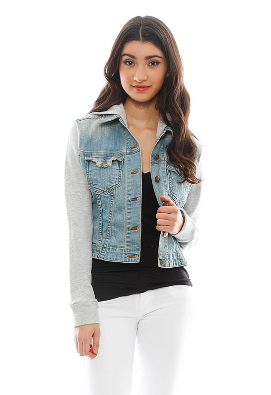 Jet by John Eshaya Sweatshirt Sleeve Hoodie Denim Jacket in DenimGrey | SINGER22.com