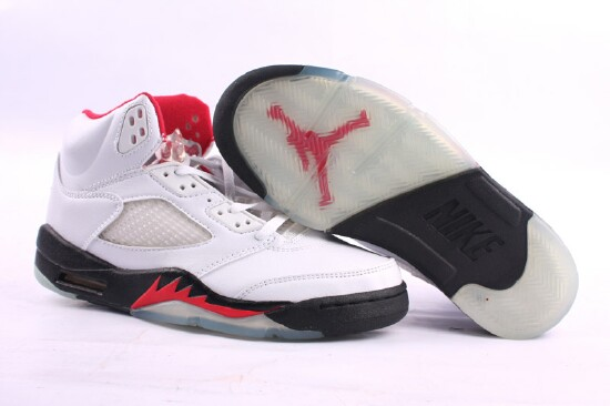 Cheap New Air Jordan 5 V Retro White Black Red Shoes Sneakers Free Shipping