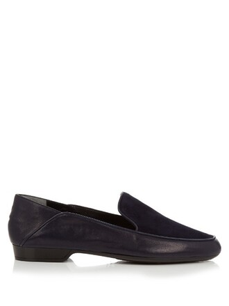 heel loafers leather navy shoes