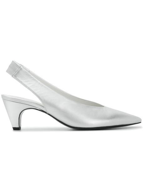 Kennel & Schmenger kitten heels women heels leather grey metallic shoes