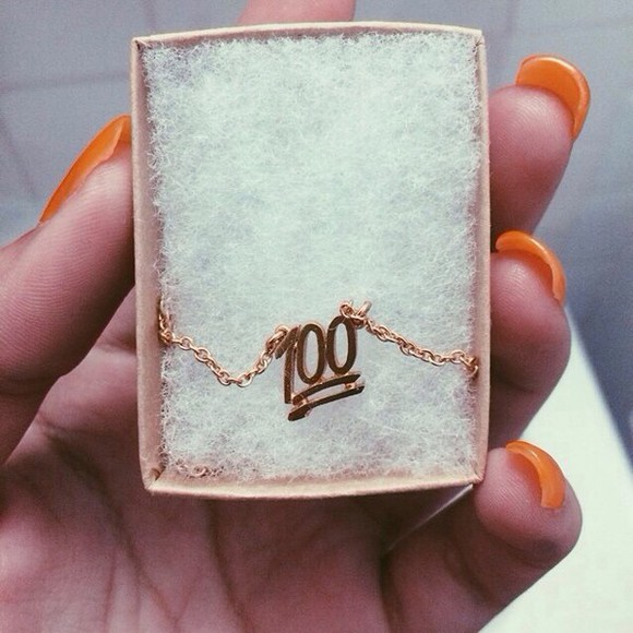 jewels 100 necklace gold necklace 100 dollars emoji print chain gold chain gold chains gold emoji print iphone tumblr 100% neckalse dope 100 emoji 100 symbol trill emoji necklace gold jewlrey girly beautiful fashion luxury gold 💯 one hundred