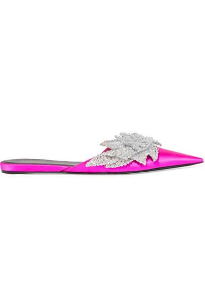 Balenciaga - Slash Sequin-embellished Satin Slippers - Fuchsia