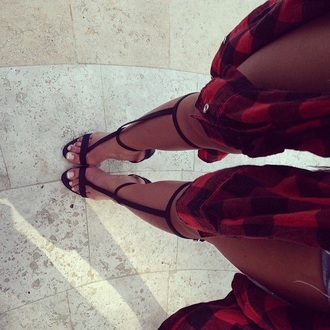 shoes black black heels spikes white toe heels red red plaid