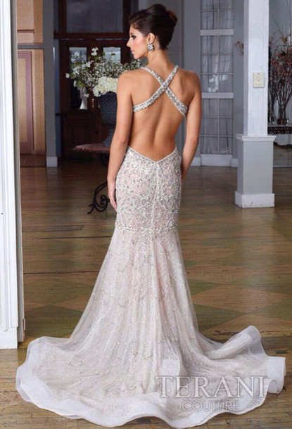 Dress amazing prom dress silver prom dress sequins for Fitted lace wedding dress with open back