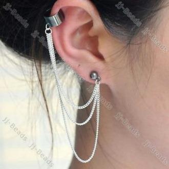 jewels jewelry earrings statement earrings ear cuff chain