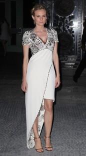 diane kruger,white dress,grey dress,dress