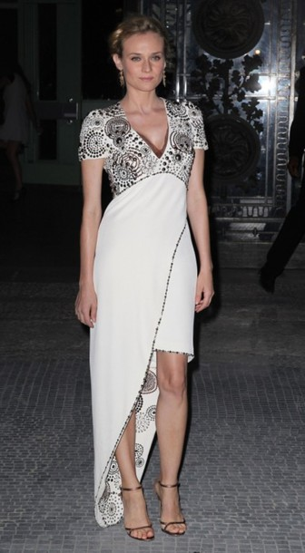 diane kruger white dress grey dress