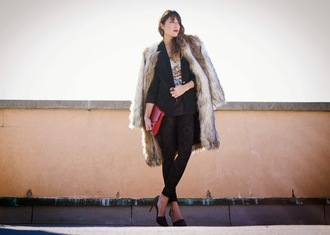 faux fur jewels bag blogger the marcy stop blazer cropped pants