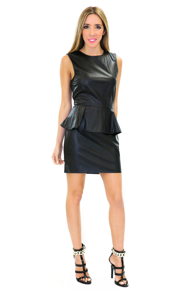 SONIA PEPLUM LEATHER DRESS | Haute & Rebellious