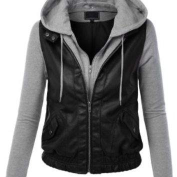 LE3NO Women's Zip Up Faux Leather Moto Jacket with Hoodie on Wanelo