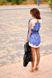 dress,blue,pretty,lace,lace dress,beachy waves,biker jacket,shoes,short dress,blue dress,nude high heels,blue lace dress,black blue short,blue lace,tan,nude,black lines,blue lace classy,lace accents,white,blue and white,heels,leather jacket,bodycon dress,high heels,cute shoes,jewels,birthday dress