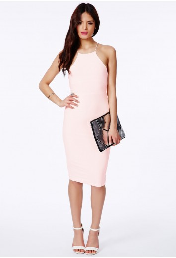 Sienna slinky crossover back midi dress in nude