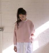 sweater,sweatshirt,pink,pastel pink,pink sweater