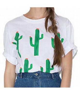 t-shirt white shirt top summer comfy trendy cool stylish cactus clothes it girl shop