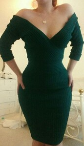 dress,green,off the shoulder,bodycon,forest green