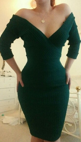 dress green off the shoulder bodycon dress forest green