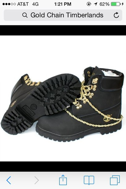 shoes gold chain black leather timberlands