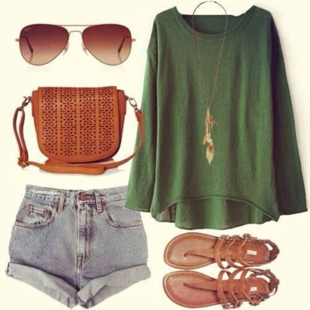 sweater shoes shorts shirt green shirt bag hot pants sandales