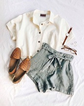 shorts,want need,summer,blouse,vintage,creamy white,collared,cropped,grey blue,tie up,loose