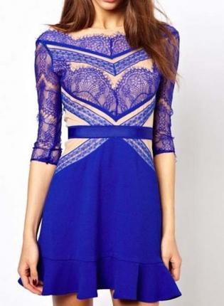 Blue Cocktail Dress - Blue Lace Dress w/ Quarter | UsTrendy