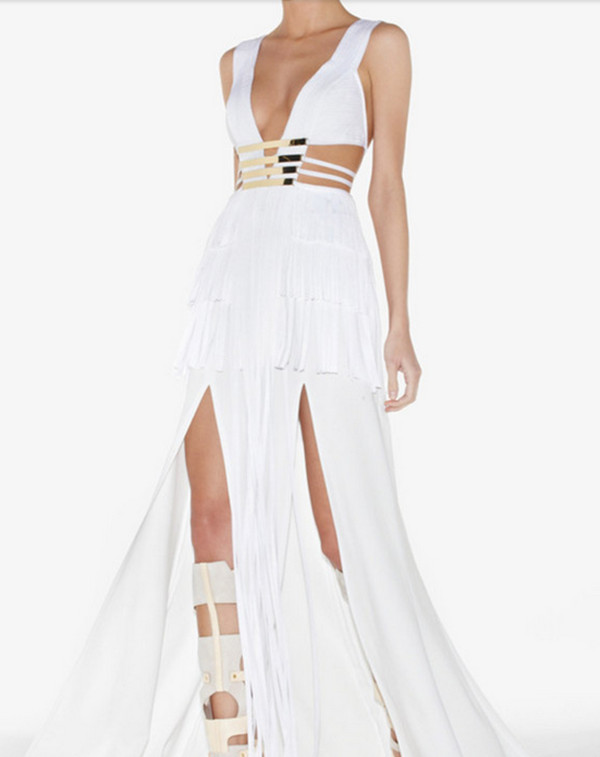 dress long dress white dress fashion evening dress bandage dress tassel