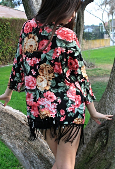 roses cardigan cardiagan kimono floral cardigan floral kimono