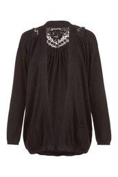 crochet,knit jacket,black,ecru,jacket