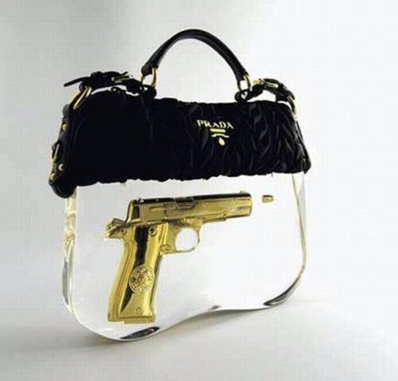 bag black gun sexy prada prada bag bags beautiful bags fashion bags bags and purses gold fur fur bag new york new york city new york fucking city New York sex and the city classy stay classy classic pretty cute
