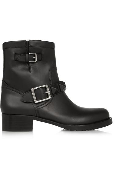Valentino | Lock leather biker boots | NET-A-PORTER.COM